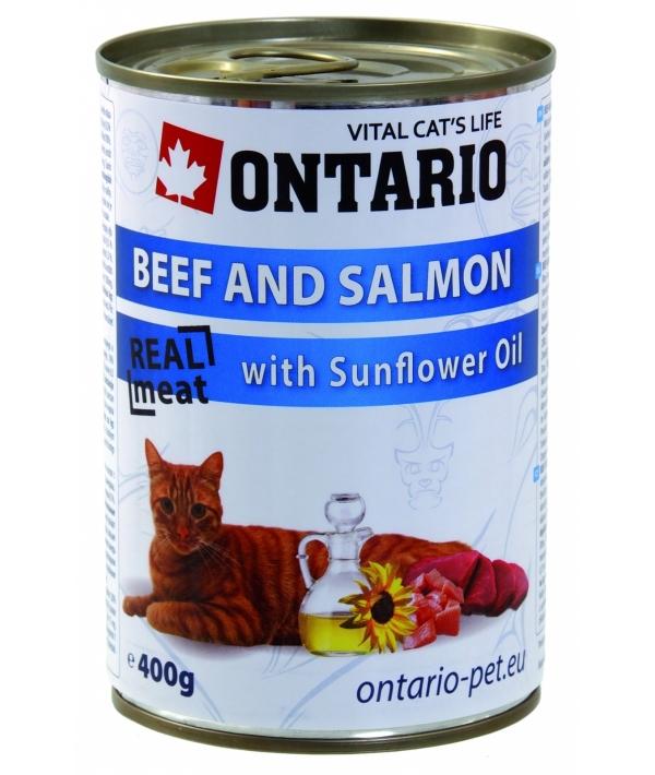 Консервы для кошек: говядина и лосось (ONTARIO konzerva Beef, Salmon,Sunflower Oil 400g) 213 – 2102