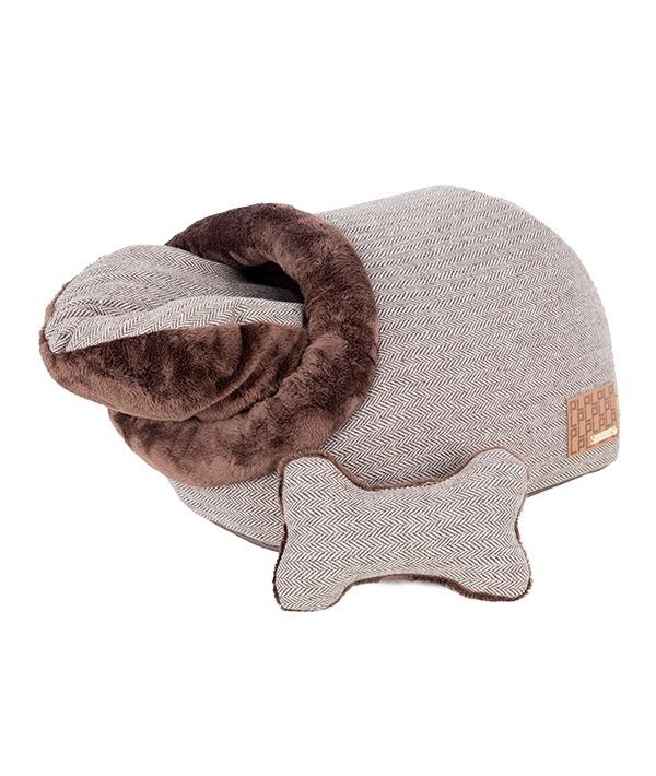 """Домик – пещера """"Вита"""" со съемной подушкой+игрушка – косточка, коричневый (35 см х 53 см х 32 см) (WITTA CAVE/BROWN/FR) PAPD – AU1341 – BR – FR"""