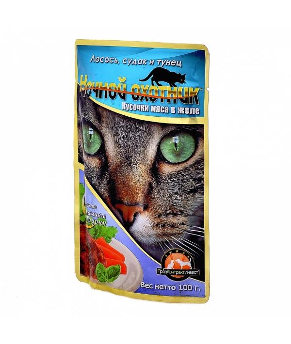 Кусочки в желе для кошек с лососем, судаком и тунцом – 52569