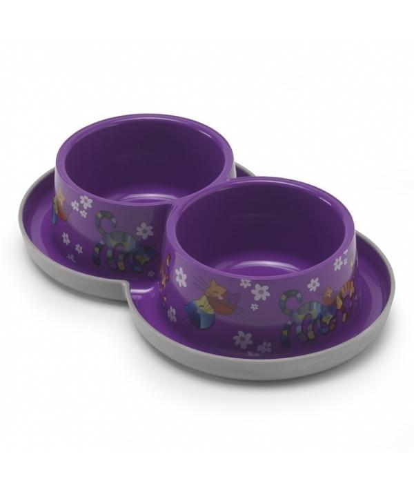Двойная нескользящая миска с защитой от муравьев Trendy – Друзья навсегда, фиолетовая, 2 *350 мл