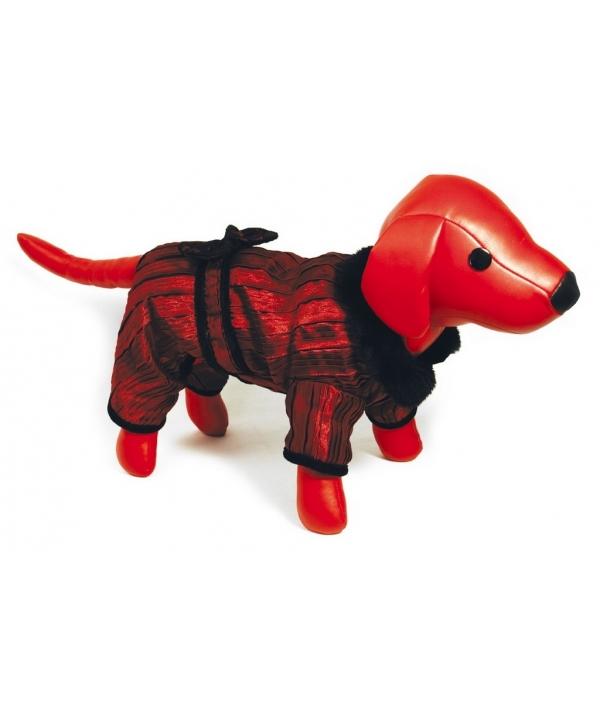 Комбинезон бордовый с бархатной подкладкой для собак, 30см (5615066)