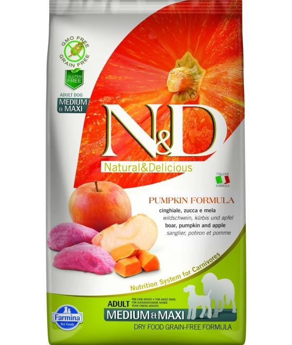 N&D GF Беззерновой корм для собак средних и крупных пород с мясом дикого кабана, тыквой и яблоком 2023
