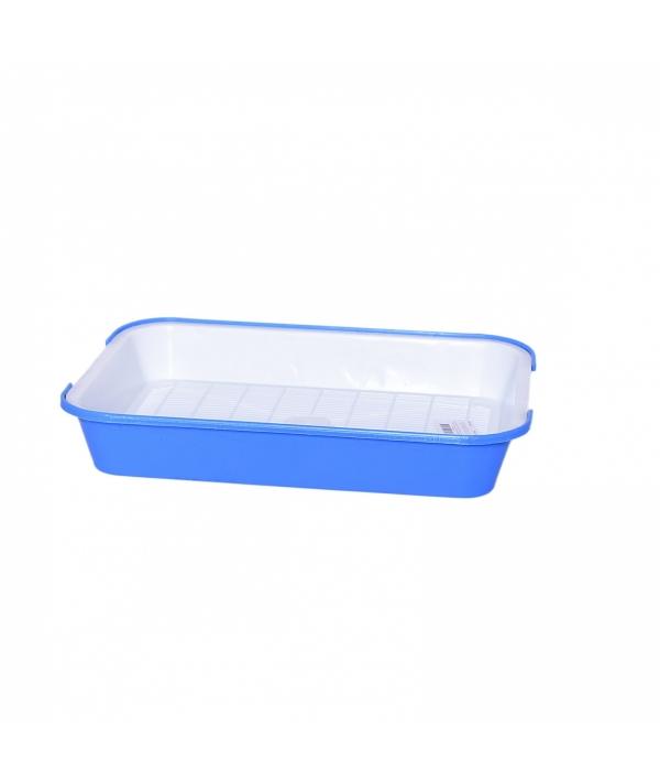 Туалет для кошек с сеткой N 2, поддон 39*28см голубой