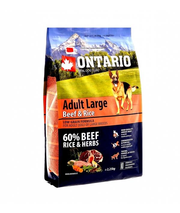 Для собак крупных пород с говядиной и рисом (Ontario Adult Large Beef & Rise 12kg) 214 – 10758