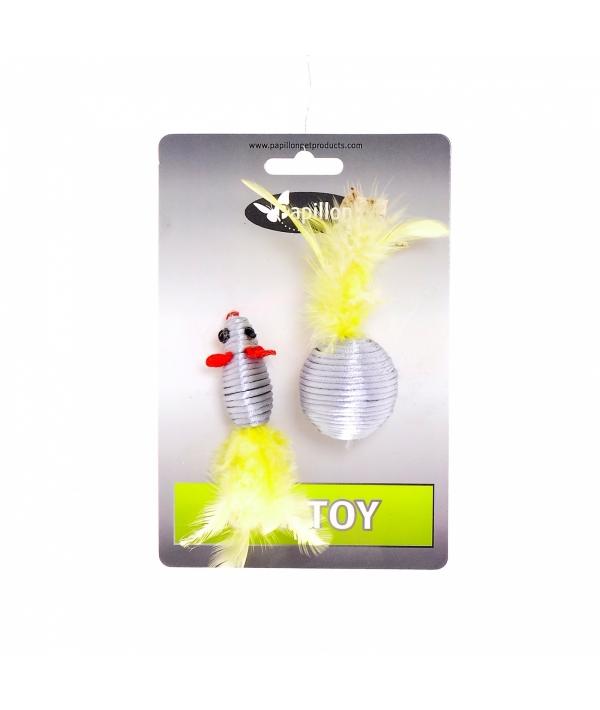 """""""Мышка и мячик с перьями"""" 5+4см серебряные (Cat toy mouse 5 cm and ball 4 cm with feather on card) 240068"""