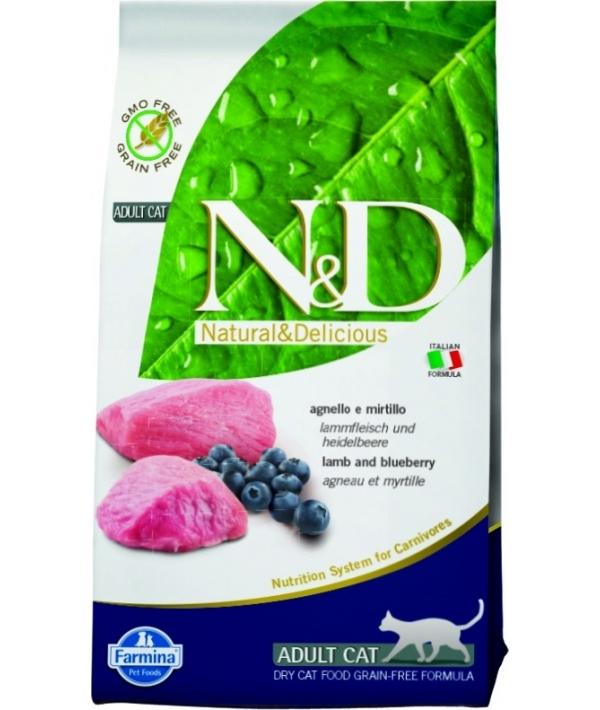 N&D GF Беззерновой корм для взрослых кошек с ягненком и черникой 1028