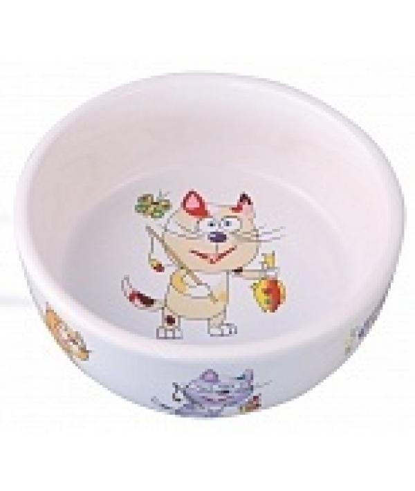 Миска керамическая для кошек, 300мл, 12,5*4,5см (5637006)