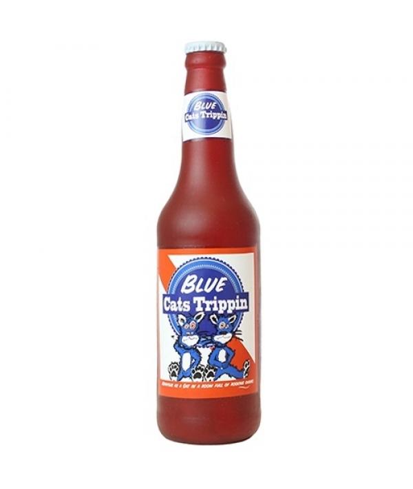 """Виниловая игрушка – пищалка для собак Бутылка пива """"Синие коты в отключке"""" (Beer Bottle Blue Cats Trippin) SS – BB – CT"""