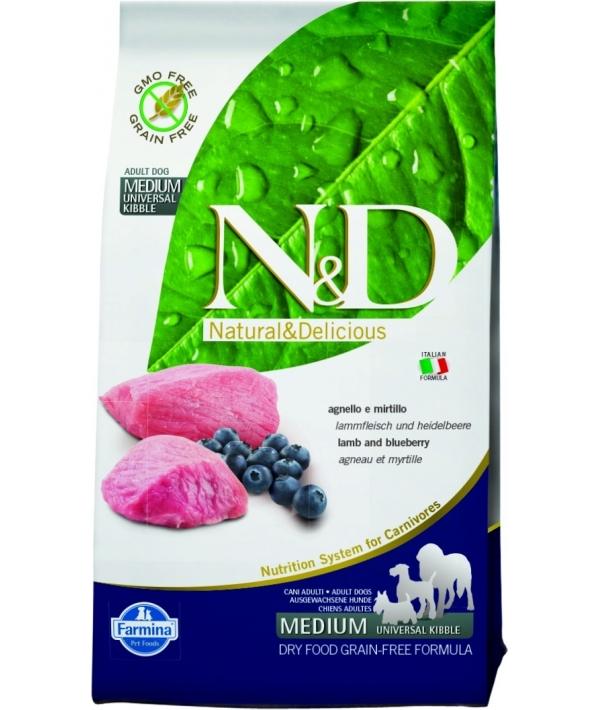 N&D GF Беззерновой корм для собак средних пород с ягненоком и черникой 1066