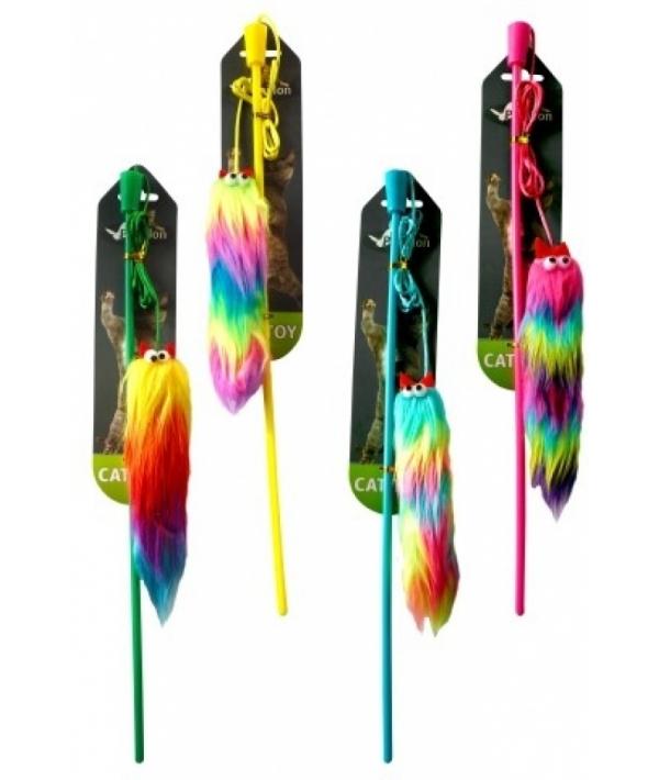 Дразнилка Удочка с плоской радужной мышкой 15 см (Fishing rod with flat rainbow mouse 15 cm) 240074