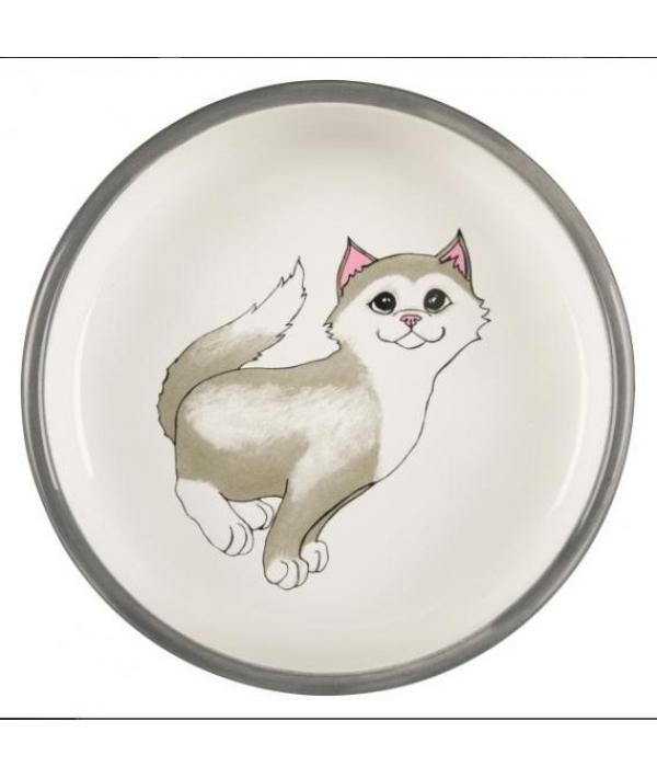Миска для кошек 0,3л/ф 15см, серый 24784