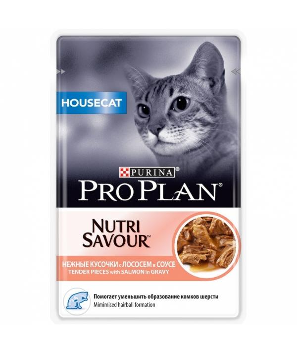 Паучи Кусочки в соусе для кошек с низкой активностью с лососем (House Cat) 12249425