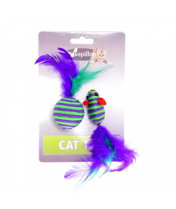 """Игрушка для кошек """"Мышка и мячик с перьями"""" 5+4см, вязанные (Cat toy mouse 5 cm and ball 4 cm with feather on card) 240052"""