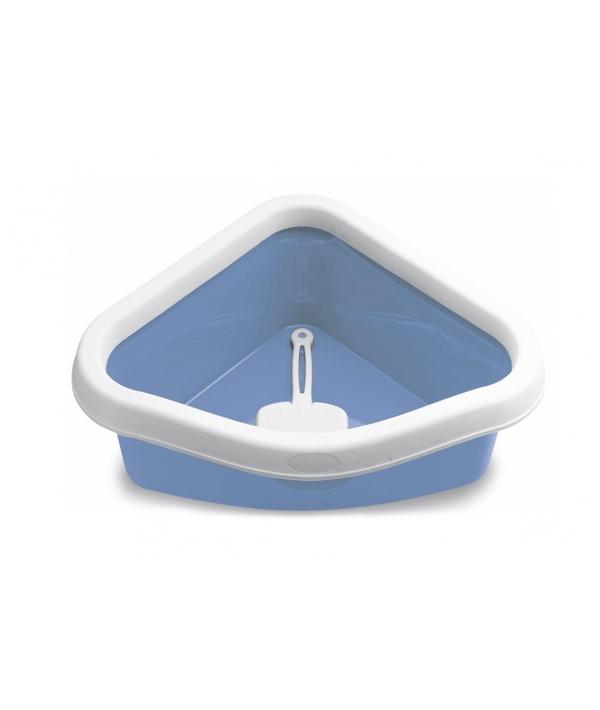 Туалет угловой Sprint Corner, с рамкой и совочком, голубой, 40*56*14см (96606)