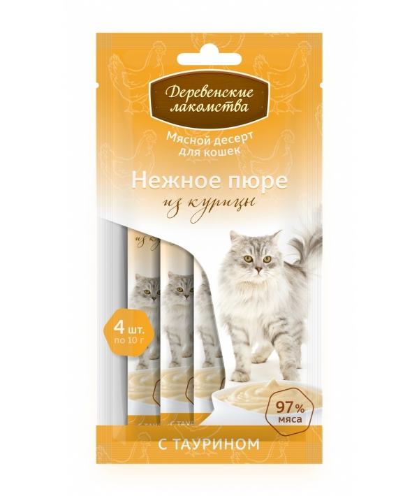 Нежное пюре для кошек из курицы 1*4шт.
