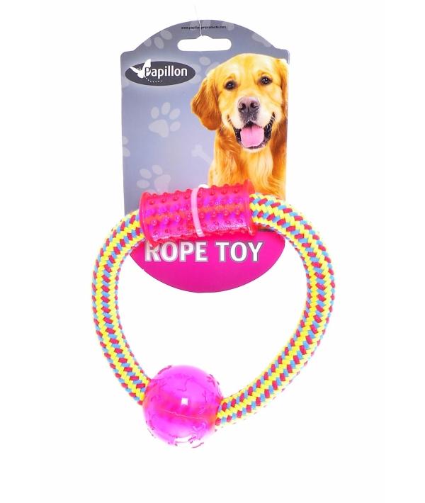 """Игрушка для собак """"Плетеное кольцо с пластиковой гантелькой и шариком"""", 15 см / Weaving rope toy with TRP 15cm 90 – 100 g, yellow/pink (3/54) 140850"""