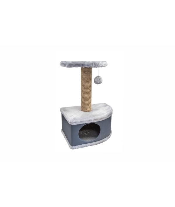 Домик – когтеточка угловой Конфетти серый 49*37*70