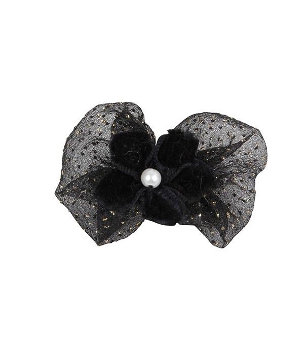 Заколка – бантик с цветком и жемчужинкой, черный (LAYNA/BLACK/FR) NAOA – HP7057 – BK – FR