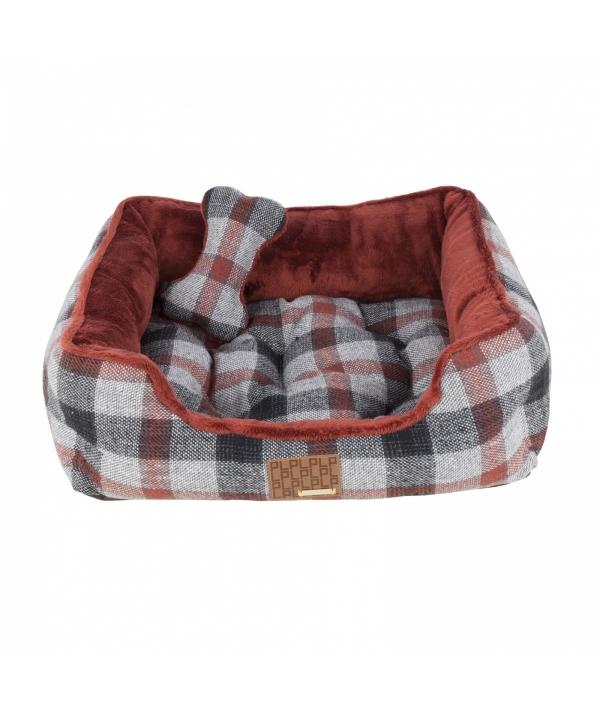"""Кровать – лежанка в клетку со сменной подушкой """"Сойер""""+ игрушка – косточка, темно – красный (49x38x18,5) (SAWYER HOUSE/DARK RED/FR) PAQD – AU1472 – DR – FR"""