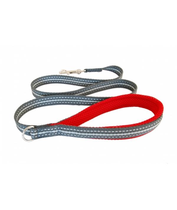 Мягкий светоотражающий поводок красный 25mm x 1,2m (LEASH RED SZ 7/8) C300RD080