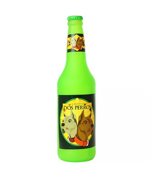 """Виниловая игрушка – пищалка для собак Бутылка пива """"Два пса"""" (Beer Bottle Dos Perros) SS – BB – DP"""