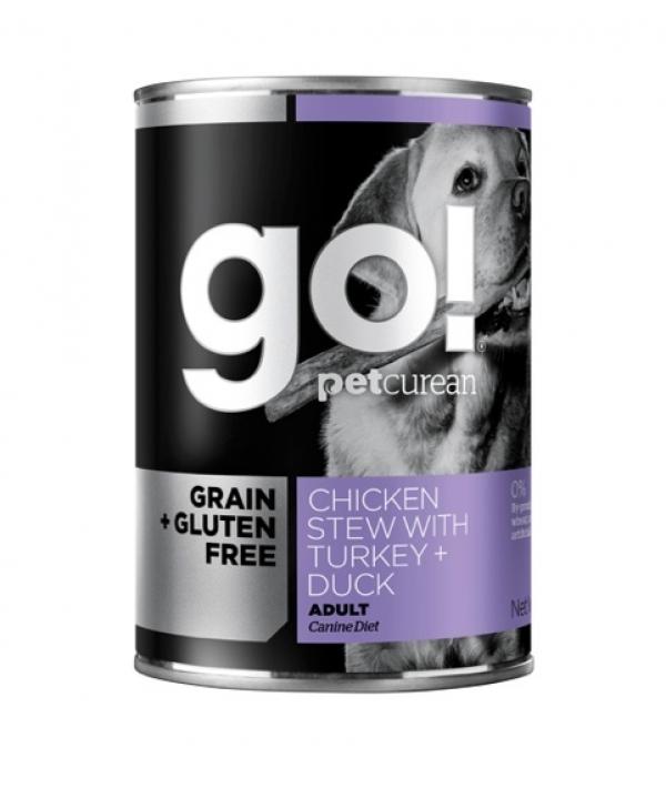 Консервы беззерновые с тушеной курицей, индейкой и мясом утки для собак (GO! Grain Free Chicken Stew with Turkey + Duck DF) 126 – 5006