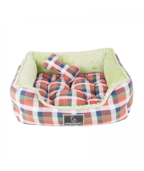 "Кровать – лежанка со съемной подушкой ""Клетка"", зеленый (49 х 44 х17) (AMORETTE HOUSE/DK.GREEN/FR) NAQA – AU7231 – DR – FR"