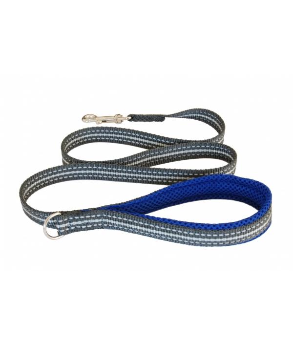 Мягкий светоотражающий поводок неоновый синий 20mm x 1,2m (LEASH ELECTRIC BLUE SZ 4/6) C300BE060