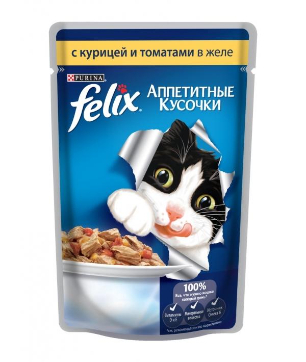 Кусочки в желе для кошек с курицей и томатами 12114152