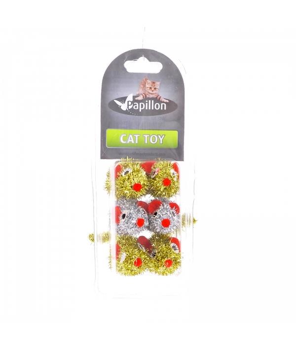 Набор игрушек 6шт. Разноцветные пушистые мышки, 5см (Cat toy 6 silver/golden mice) 240016 //