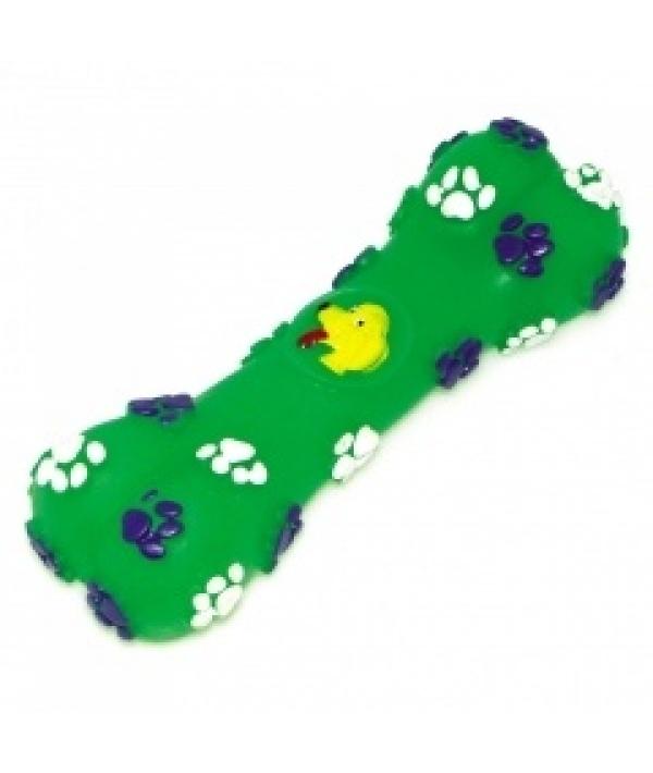 """Игрушка – косточка """"Собачья радость"""" зеленого цвета для собак, 14*5см, винил (5604025)"""