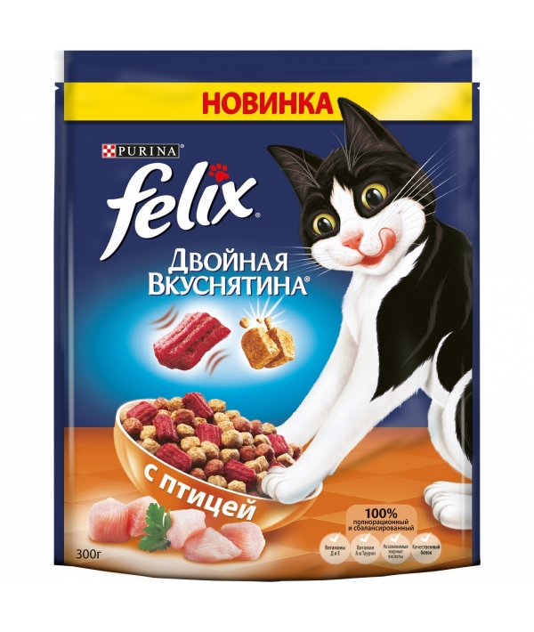 """Сухой корм для кошек """"Двойная вкуснятина"""" с птицей 12320972"""