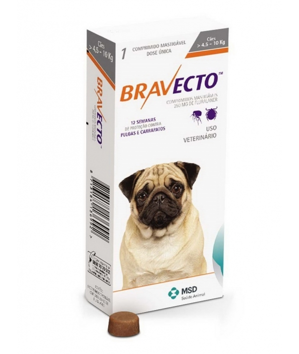 Бравекто жевательная таблетка от блох и клещей для собак 4.5 – 10кг 250мг (40279)