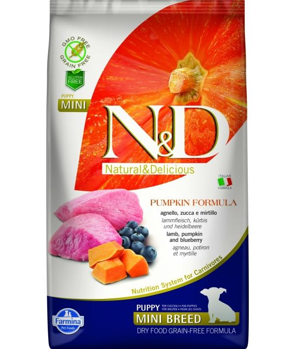 N&D GF Беззерновой корм для щенков мелких пород с тыквой, ягненком и черникой 2031