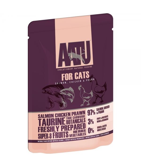 Паучи для кошек Лосось, Курица, Креветки (AATU FOR CATS SALMON, CHICKEN & PRAWN) WACFP85