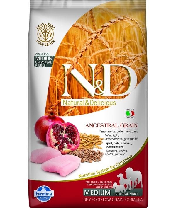 N&D LG Сухой корм для собак средних пород с курицей и гранатом 4014