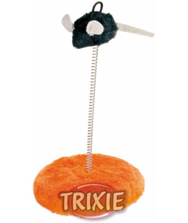 Игрушка д/кошек Мышь на пружине с микрочипом (пищит при касании) – 4549