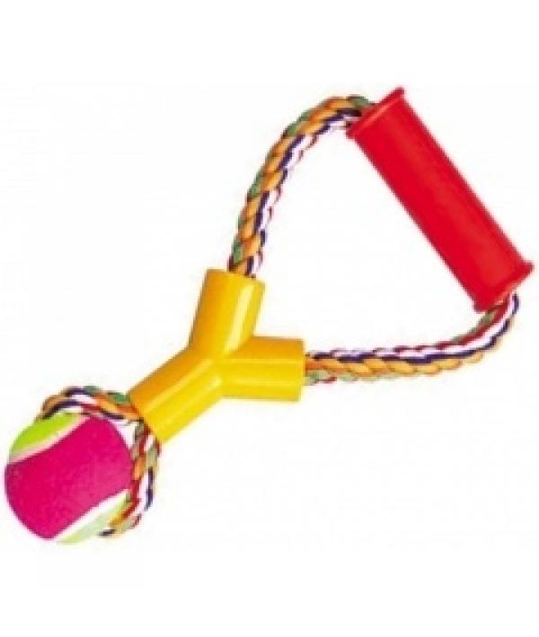 """Игрушка """"Веревка № 7"""" для собак, 25см, 180 – 190г, хлопок, пластик, резина (5608030)"""