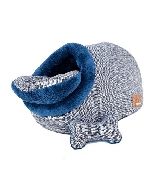 "Домик – пещера ""Вита"" со съемной подушкой+игрушка – косточка, темно – синий (35 см х 53 см х 32 см) (WITTA CAVE/NAVY/FR) PAPD – AU1341 – NY – FR"