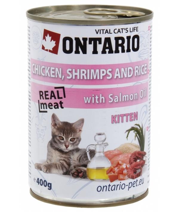 Консервы для котят: курица, креветки и рис (ONTARIO konzerva Kitten Chicken,Schrimps,Rice,Salmon Oil 400g) 213 – 2032