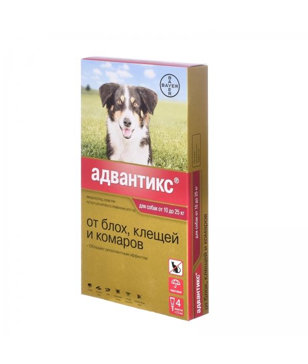 Адвантикс Капли д/собак 10 – 25кг от блох, клещей, 4пипетки – 13271