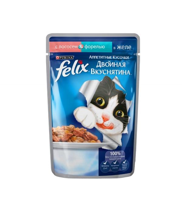 Кусочки в желе для кошек с лососем и форелью (12294937)