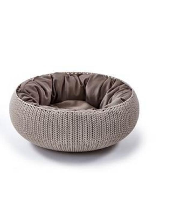 """Лежак для животных """"Вязанный комфорт"""" с подушкой, D54*20.2 см дымчато – бежевый (229321)"""