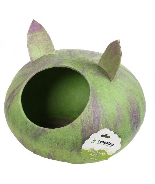 """Домик """"Уютное гнездышко"""" с ушками (шерсть, форма круг, мультиколор салатовый) L: 40x40x20см (957)"""