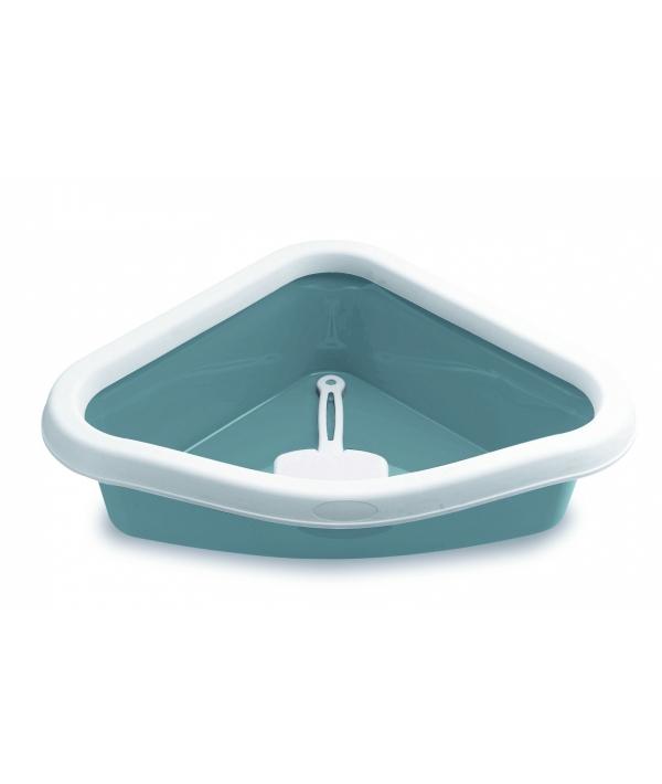 Туалет угловой Sprint Corner, с рамкой и совочком, синий, 40*56*14см (TOILETTE SPRINT CORNER BLU ACCIAIO/BIANCO) 96612