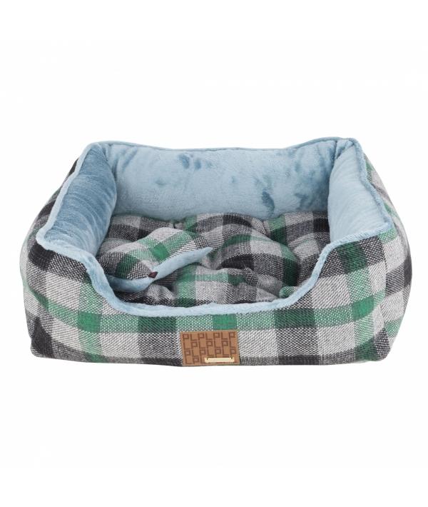 """Кровать – лежанка в клетку со сменной подушкой """"Сойер""""+ игрушка – косточка, зеленый (49x38x18,5) (SAWYER HOUSE/GREEN/FR) PAQD – AU1472 – GR – FR"""
