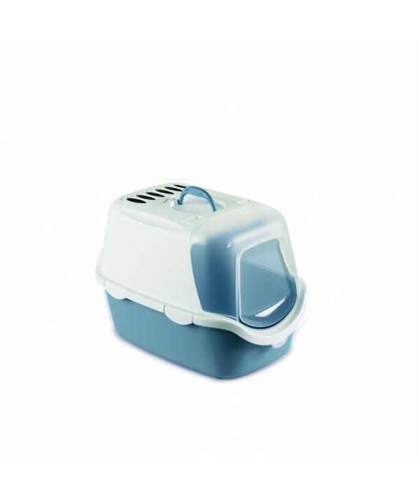 Туалет – Домик Cathy Easy Clean с угольным фильтром, синий, 56*40*40см (TOILETTE CATHY EASY CLEAN BLU ACCIAIO/BIANCO) 98649