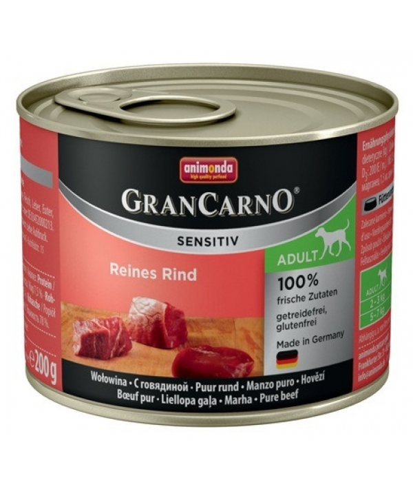 Консервы для чувствительных собак GranCarno Sensitiv c говядиной
