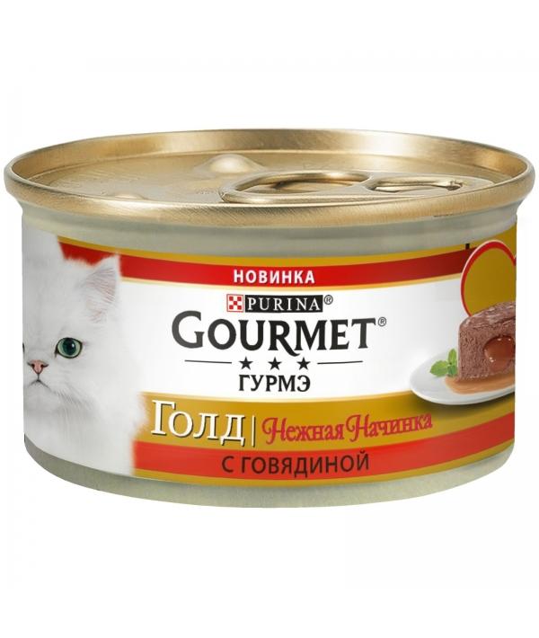 Консервы для кошек нежная начинка Gourmet Gold Говядина (Melting Heart ), 12348198