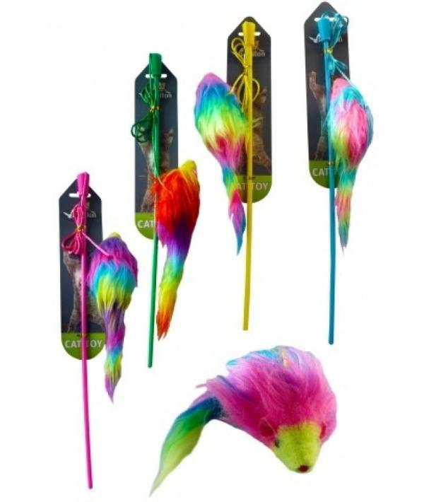 Дразнилка Удочка с радужной мышкой 9 см (Fishing rod with rainbow mouse 9 cm) 240075